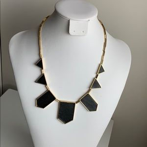 HOUSE OF HARLOW Black Leather 7 Station Necklace